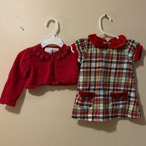 Baby girl 0-6 month Mud Pie Dress & 6-9m cardigan